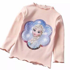 Elsa/Anna Two-Way Sequin Long Sleeve Top